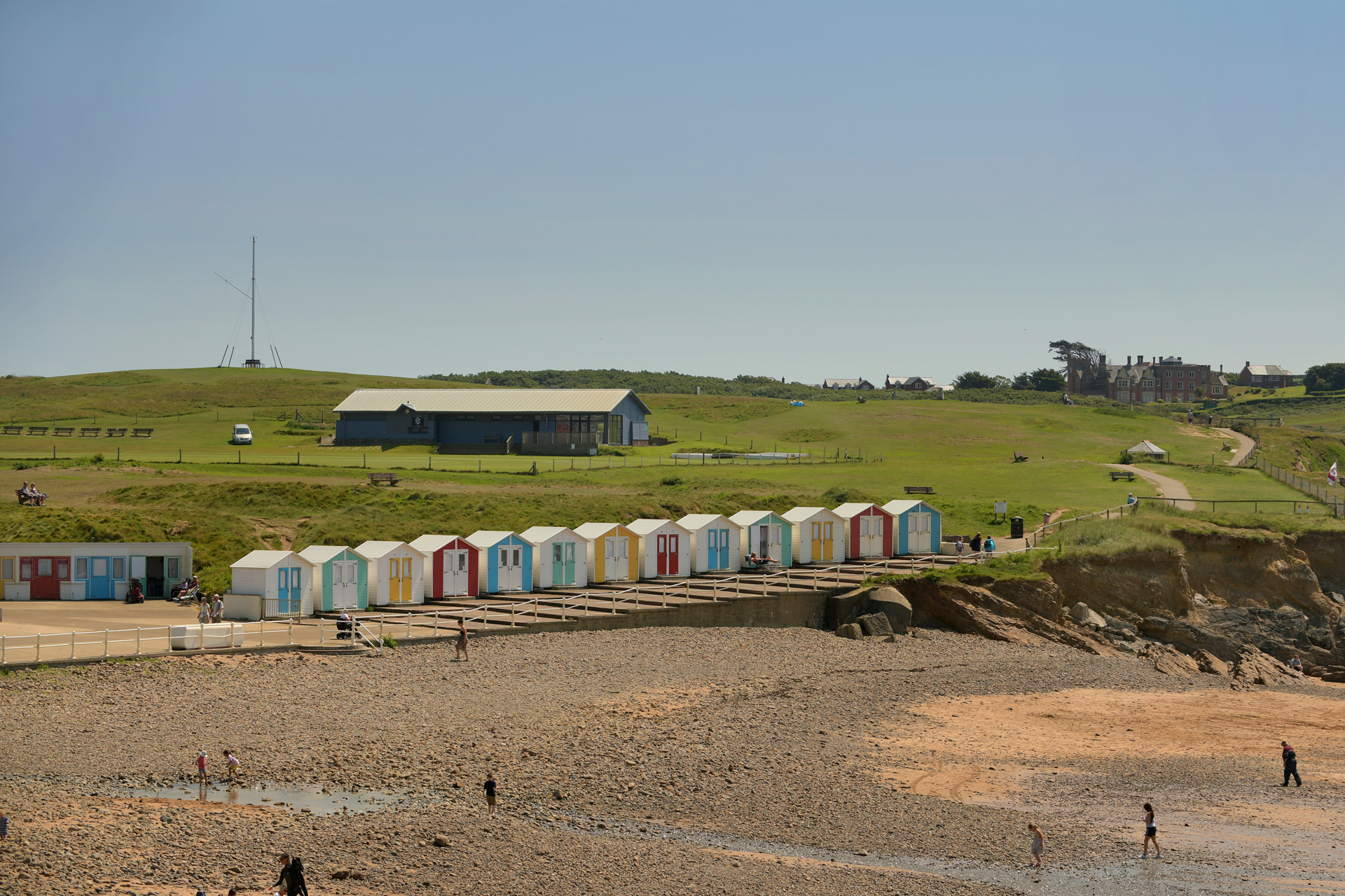 Colourful beach huts at Crooklet's beach in Bude, north Cornwall