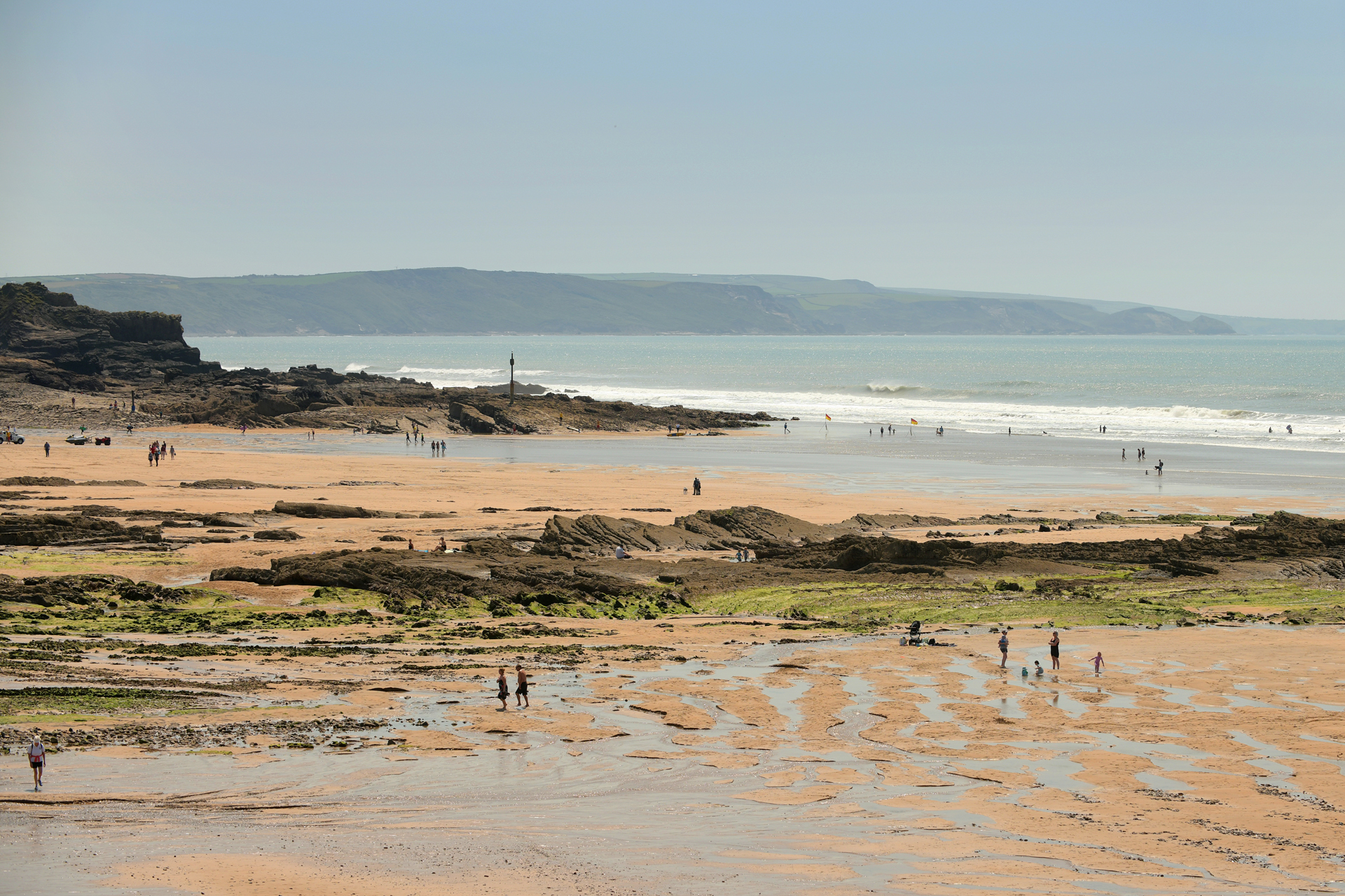 Crooklet's beach at low tide in Bude, north Cornwall