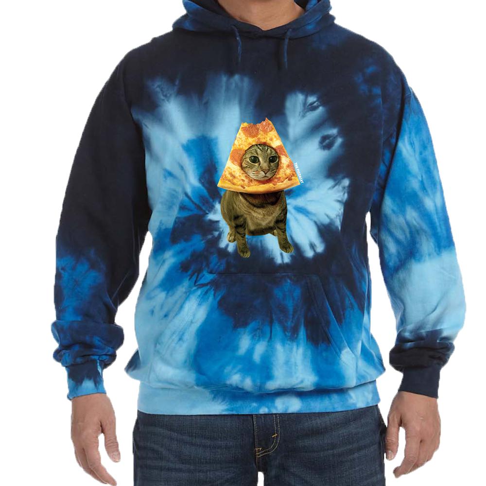 Blue Ocean Tie Dye Pizza Cat Sweatshirt