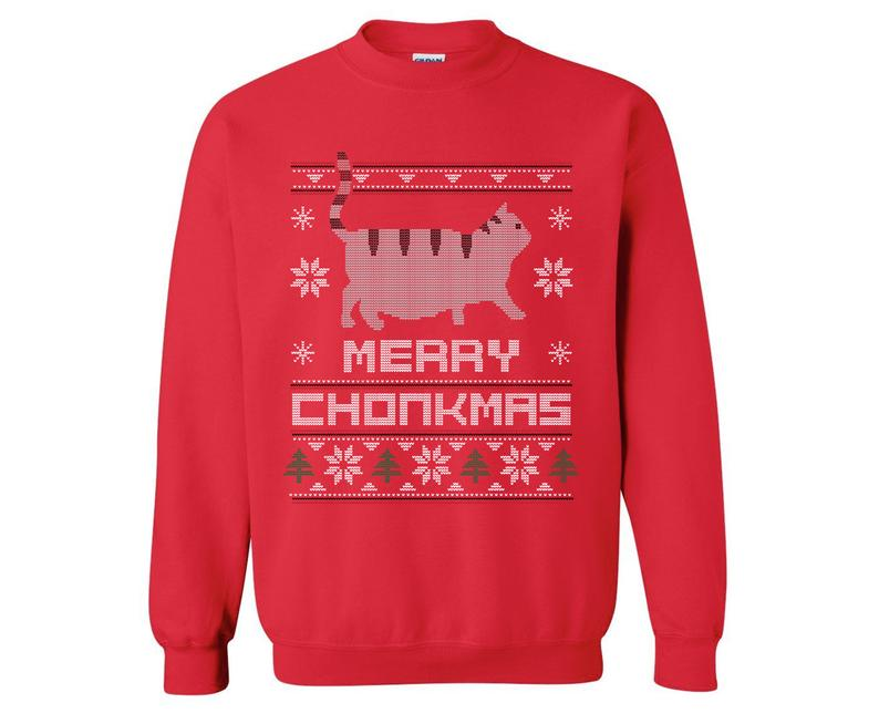 Merry Chonkmas Red Sweatshirt Pizza Cat