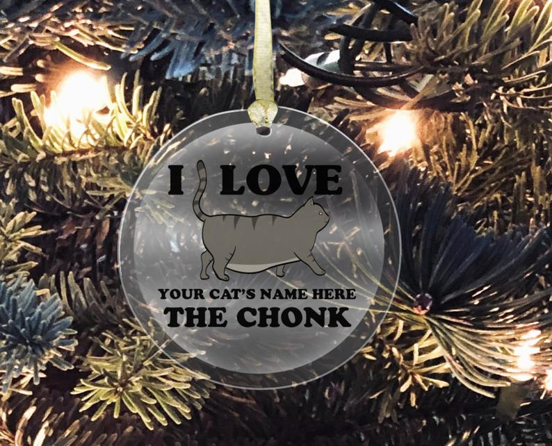 Personalized Chonky Cat ornament Pizza Cat