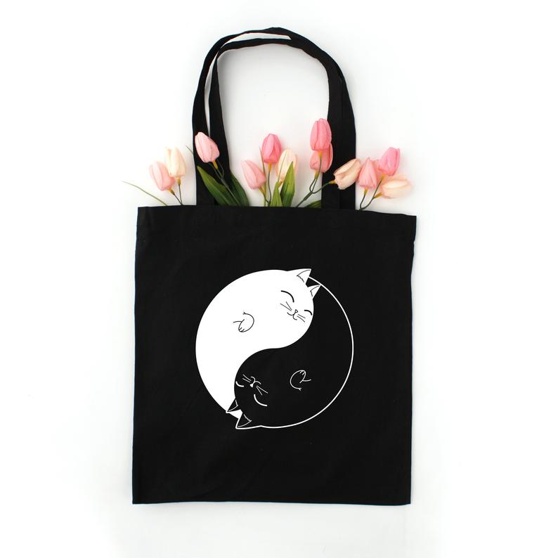 Ying Yang Cat Tote Bag Pizza Cat