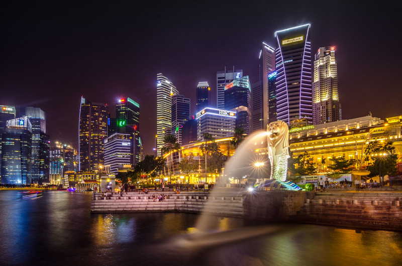 Singapore Marina Bay in the evening