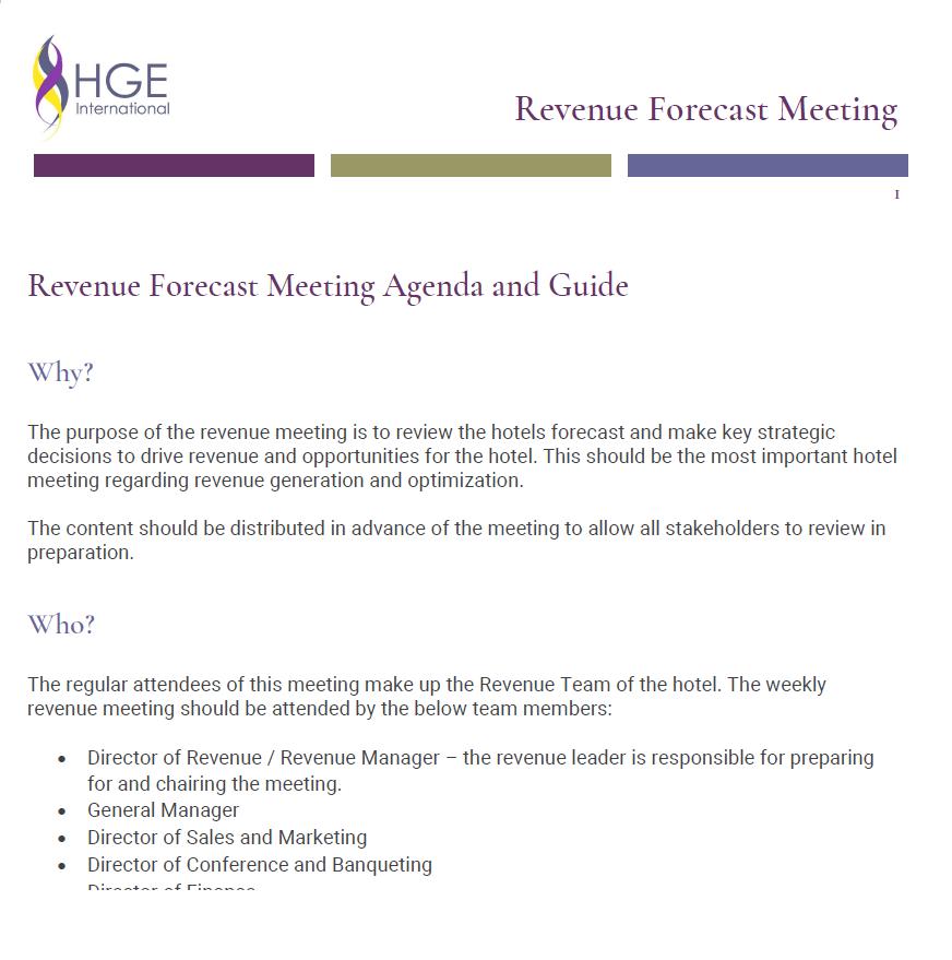 Revenue Forecast Meeting Agenda