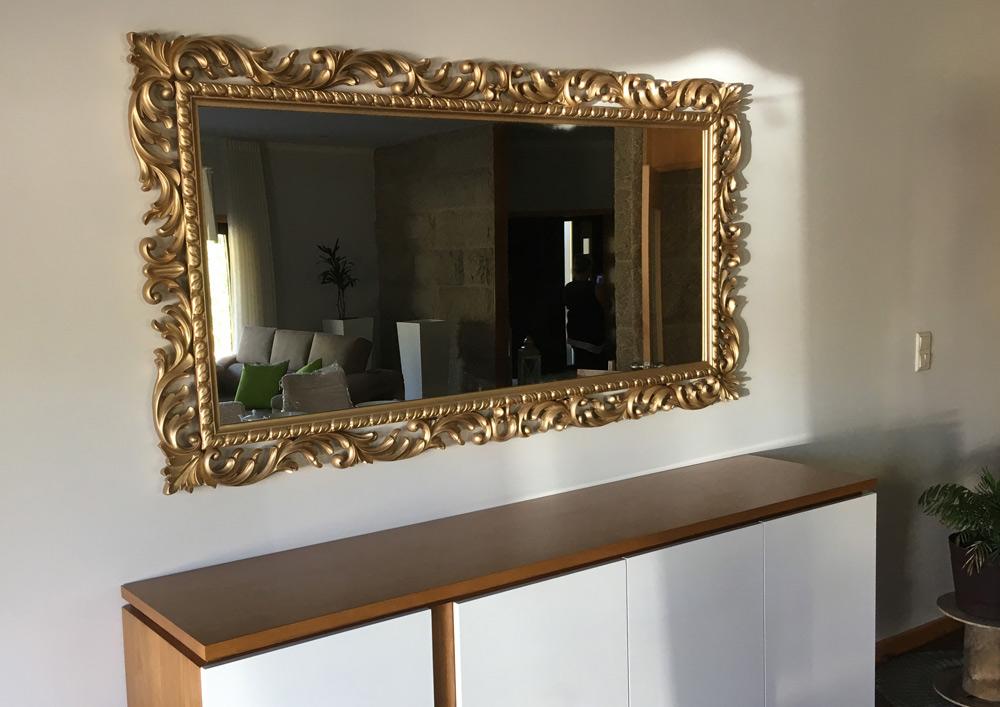 espelho talha dourada