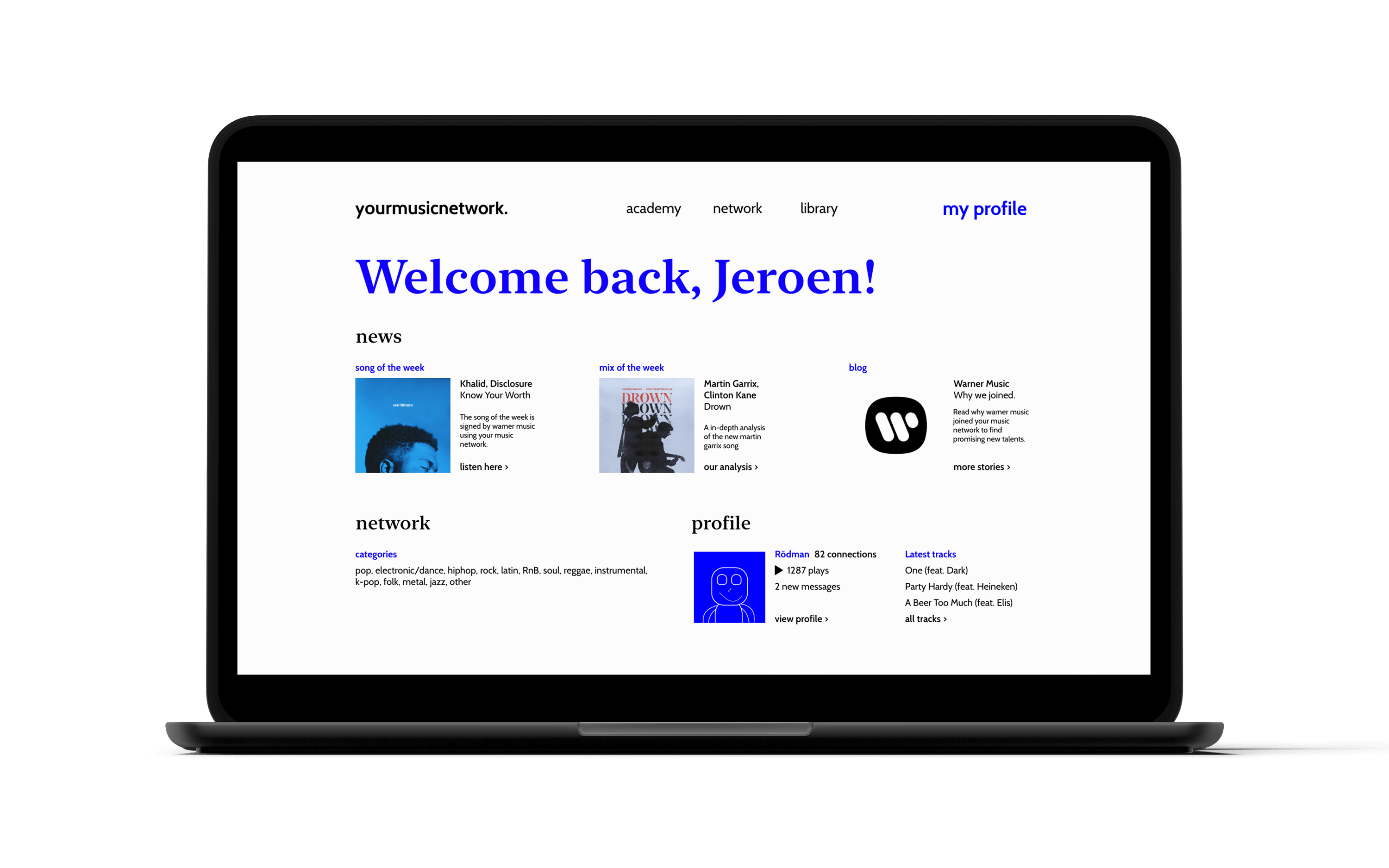 your music network profile