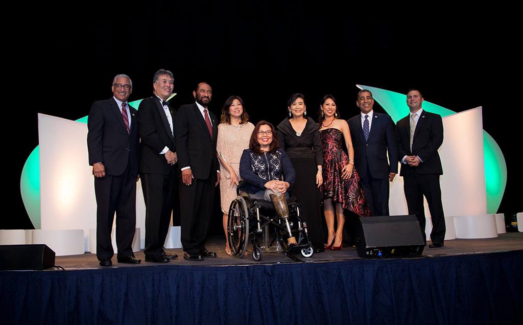 AAPI leaders in politics (from left to right): Fil-Am Rep. Bobby Scott D-VA, Rep. Mark Takano (D-CA), Rep. Al Green (D-TX), Rep. Grace Meng (D-NY), Sen. Tammy Duckworth (D-IL), Rep.  Judy Chu (D-CA), Rep. Stephanie Murphy (D-FL), Rep. Adriano Espaillat (D-NY), Rep. Darren Sotto (D-FL)
