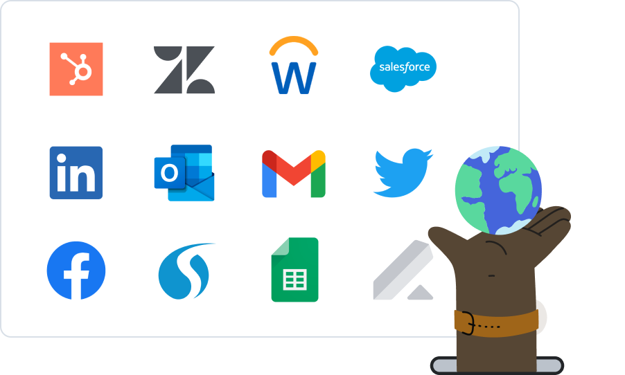 Magical works everywhere you work on the web like, Hubspot, Zendesk, Workday, Salesforce, LinkedIn, Outlook, Gmail, Twitter, Facebook, Salesloft, Google Sheets, Lever and more!