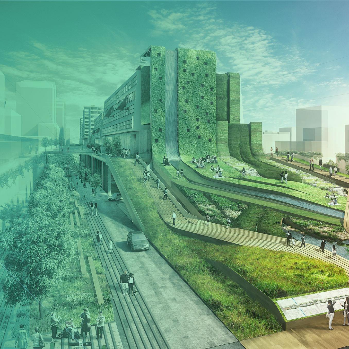 Imagem de um projeto de cidade super futuristica e sustentavel