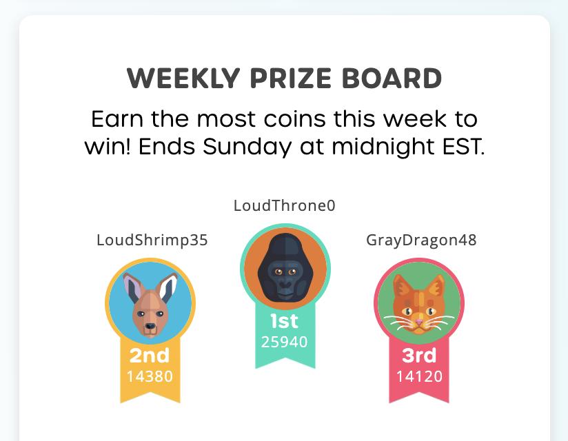SAT Prep Game - Everydae Weekly Prize Board