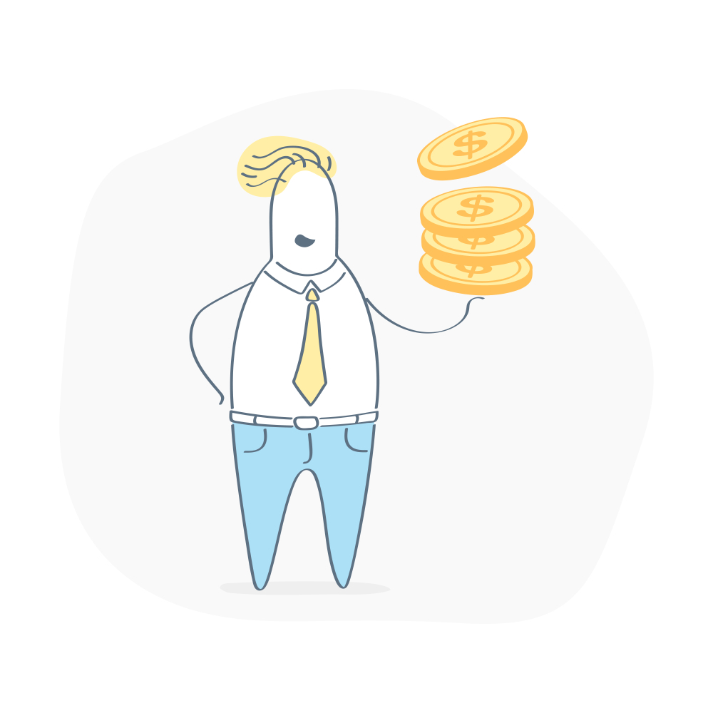 Person with stack of coins