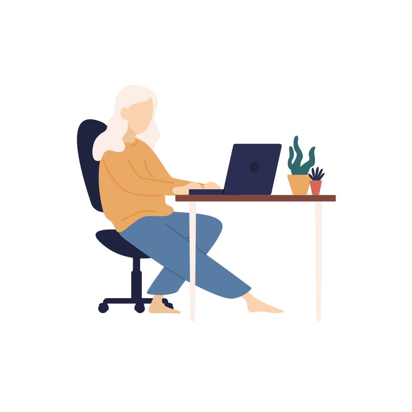 sitting at desk illustration