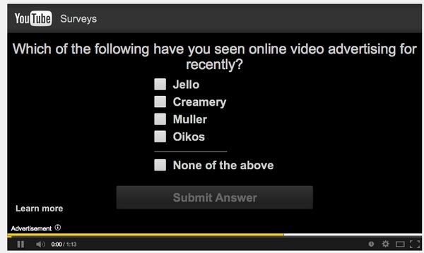 YouTube survey example