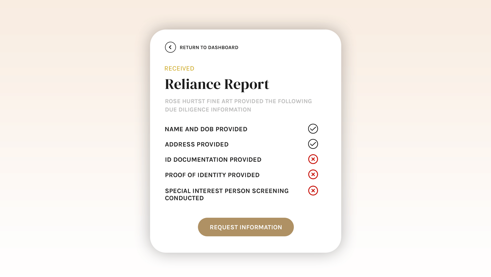 reliance report checklist