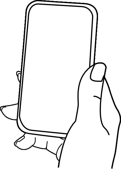 Hand med mobiltelefon