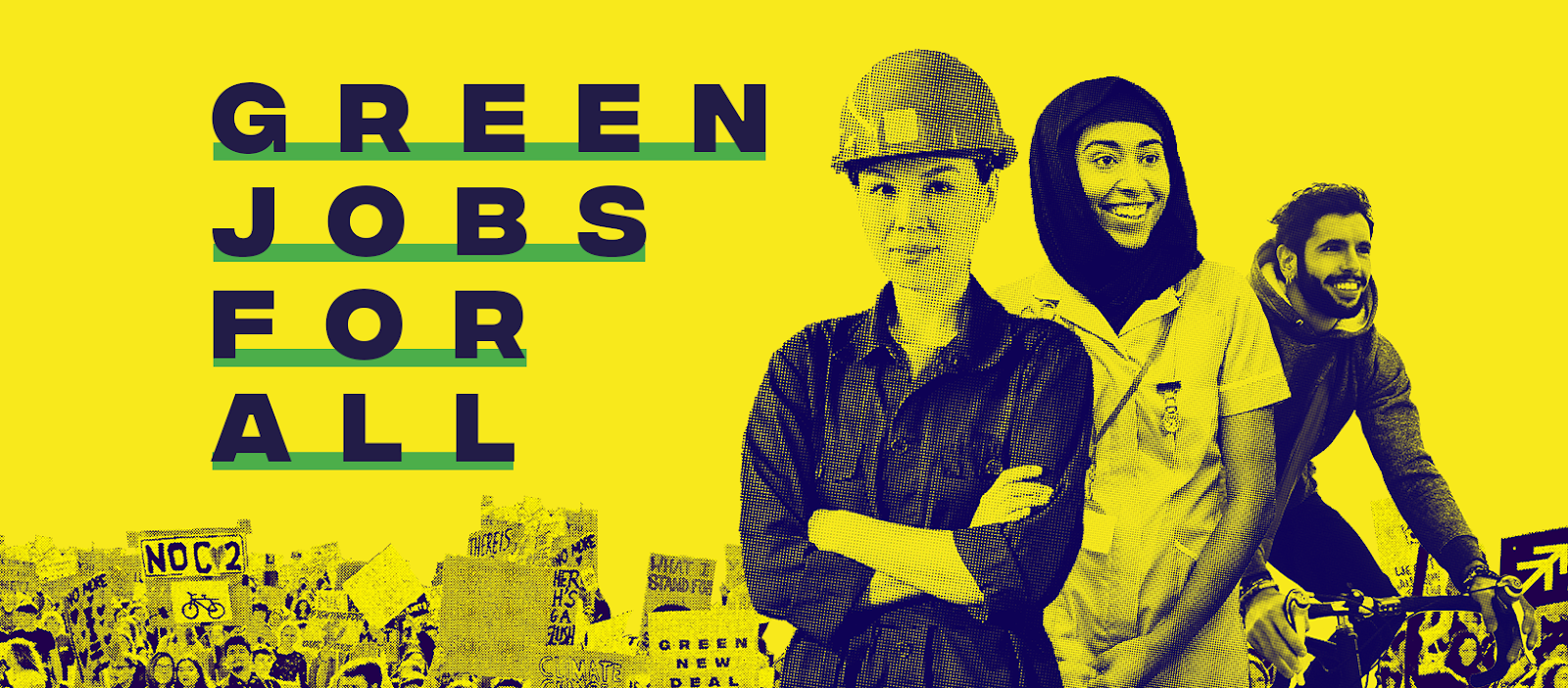 """Green jobs for all"" branded image"