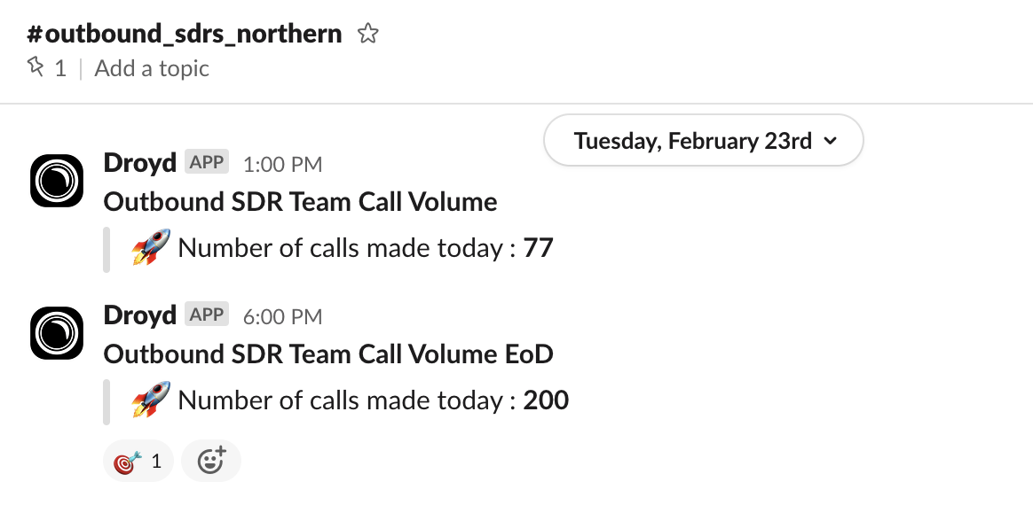 Sales Call activity results in Slack