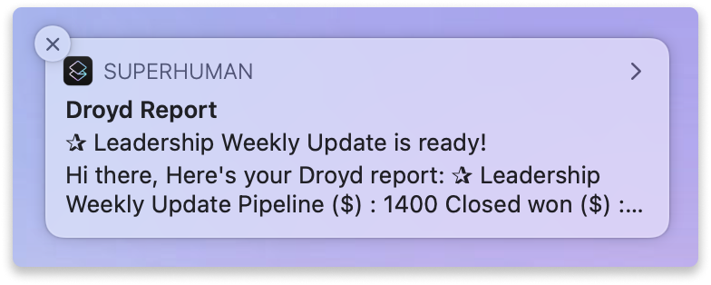 Droyd Email Report Goals KPIs