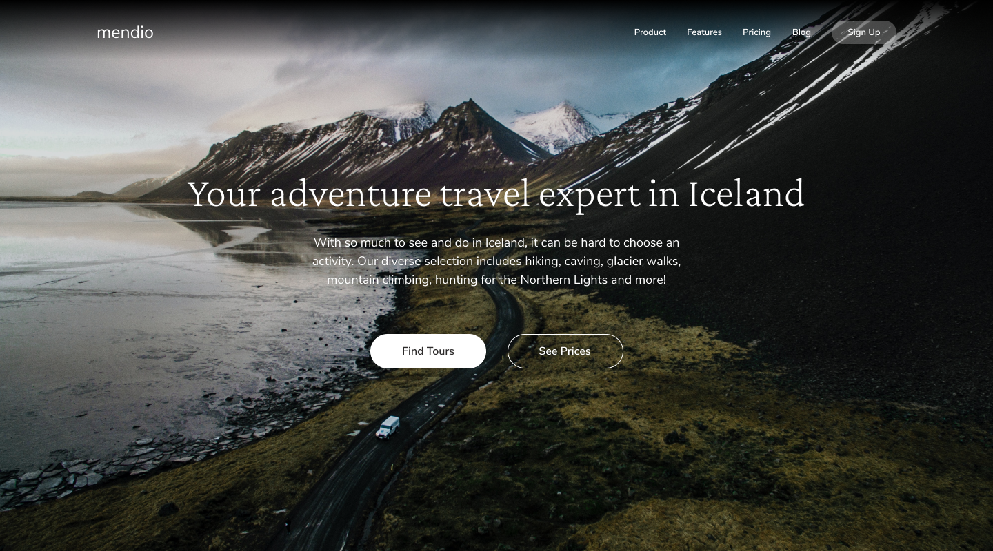 A screencap of our hero section from Savior Design's Travel To Iceland graphic.