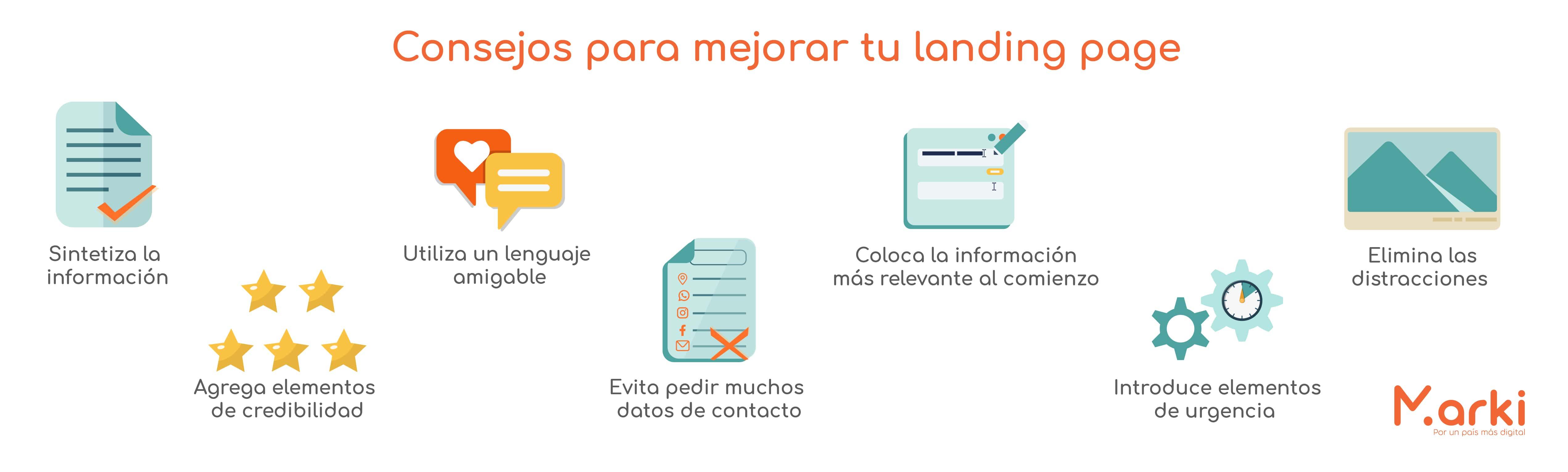 consejos para mejorar tu landing page landing page marki que es una landing page y para que sirve landing page para que sirve diferencias entre landing page y sitio web que es una landing page diseño marki