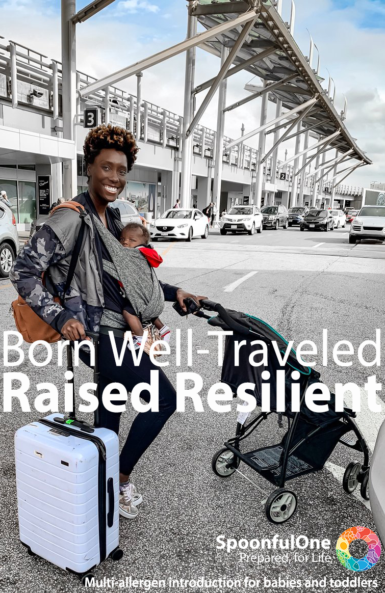 Young mohter happily prepares to load a stroller and suitcase into a car at the airport while also holding an infant in a sling. Copy reads: Born Well-traveled, Raised Resilient. Spoonful one, Prepared for life.
