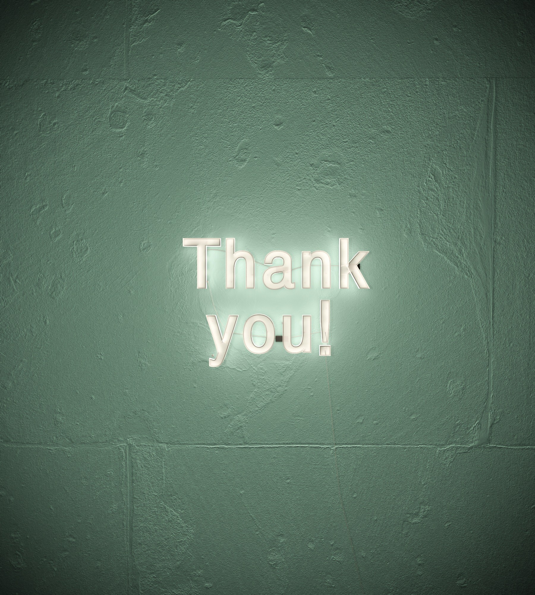 Image says Thank You in neon letters