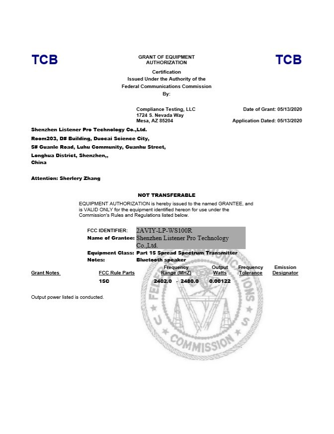 Listener Pro FCC Certification