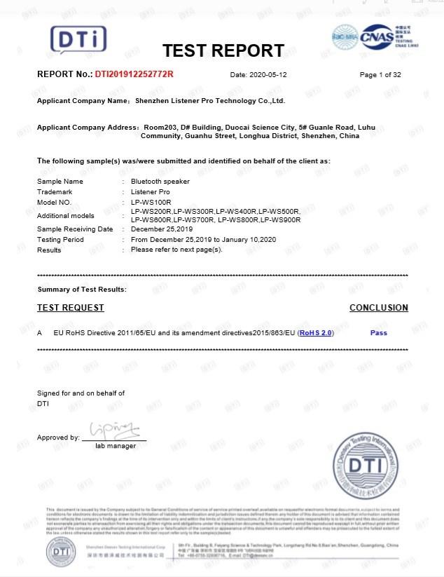 Listener Pro RoHS Certification