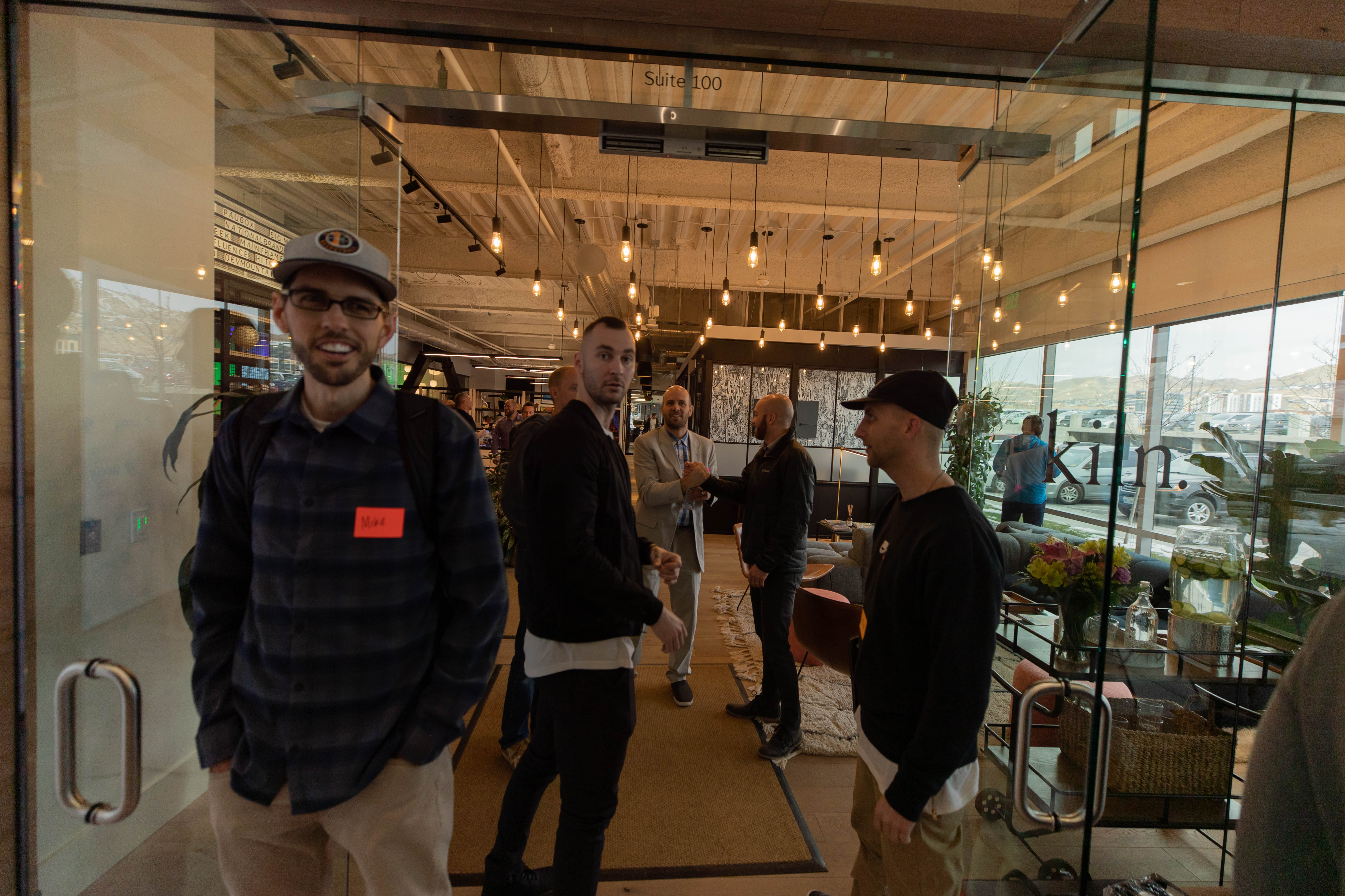 Mike from Nomatic, Reyn from Nena & Co, and a bro five at the Wooly luncheon
