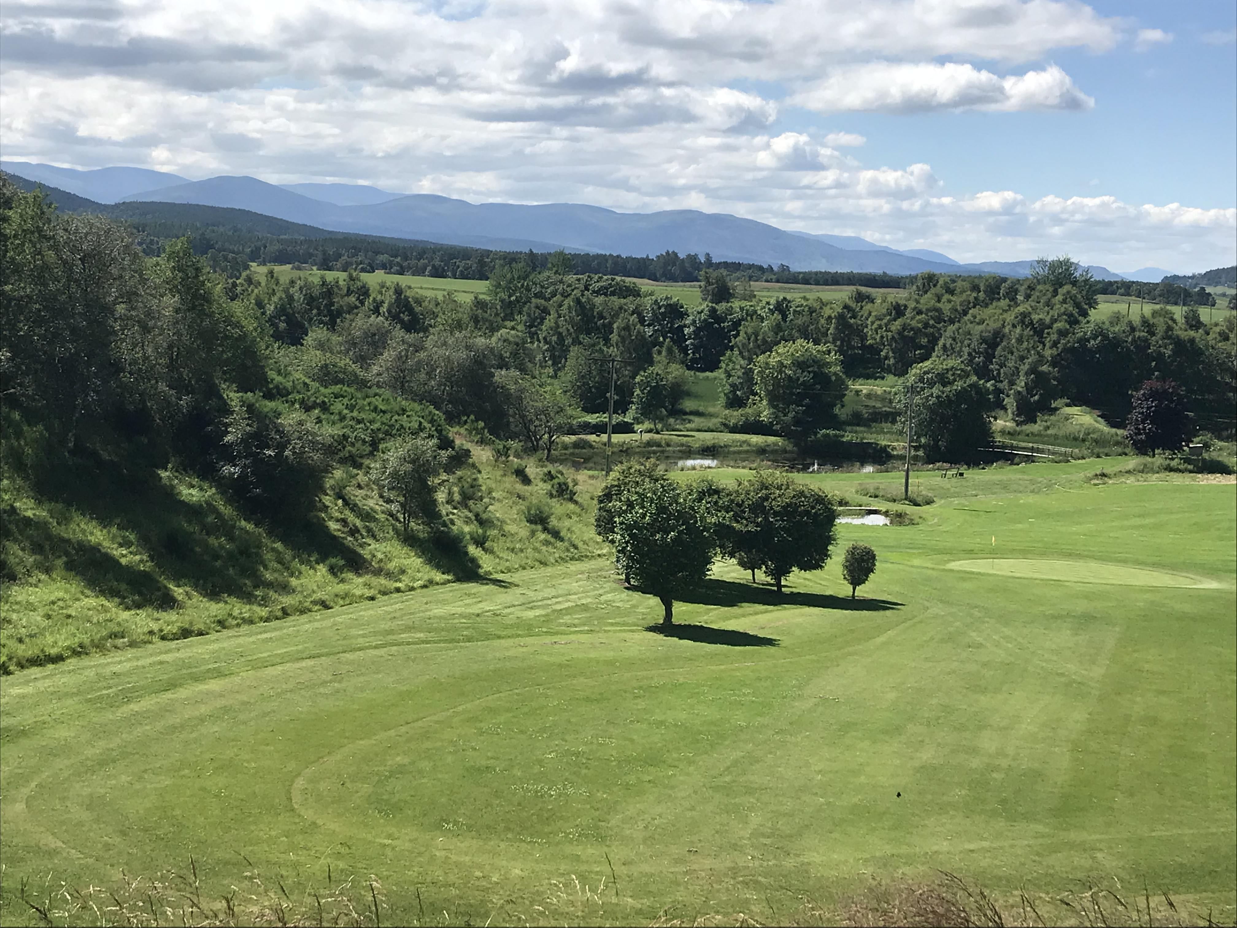 View of Cairngorms Mountains from the 2nd tee at Craggan Golf Course