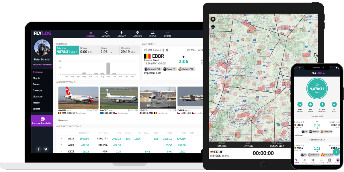 Pilot logbook and navigation for desktop, mobile and tablet.