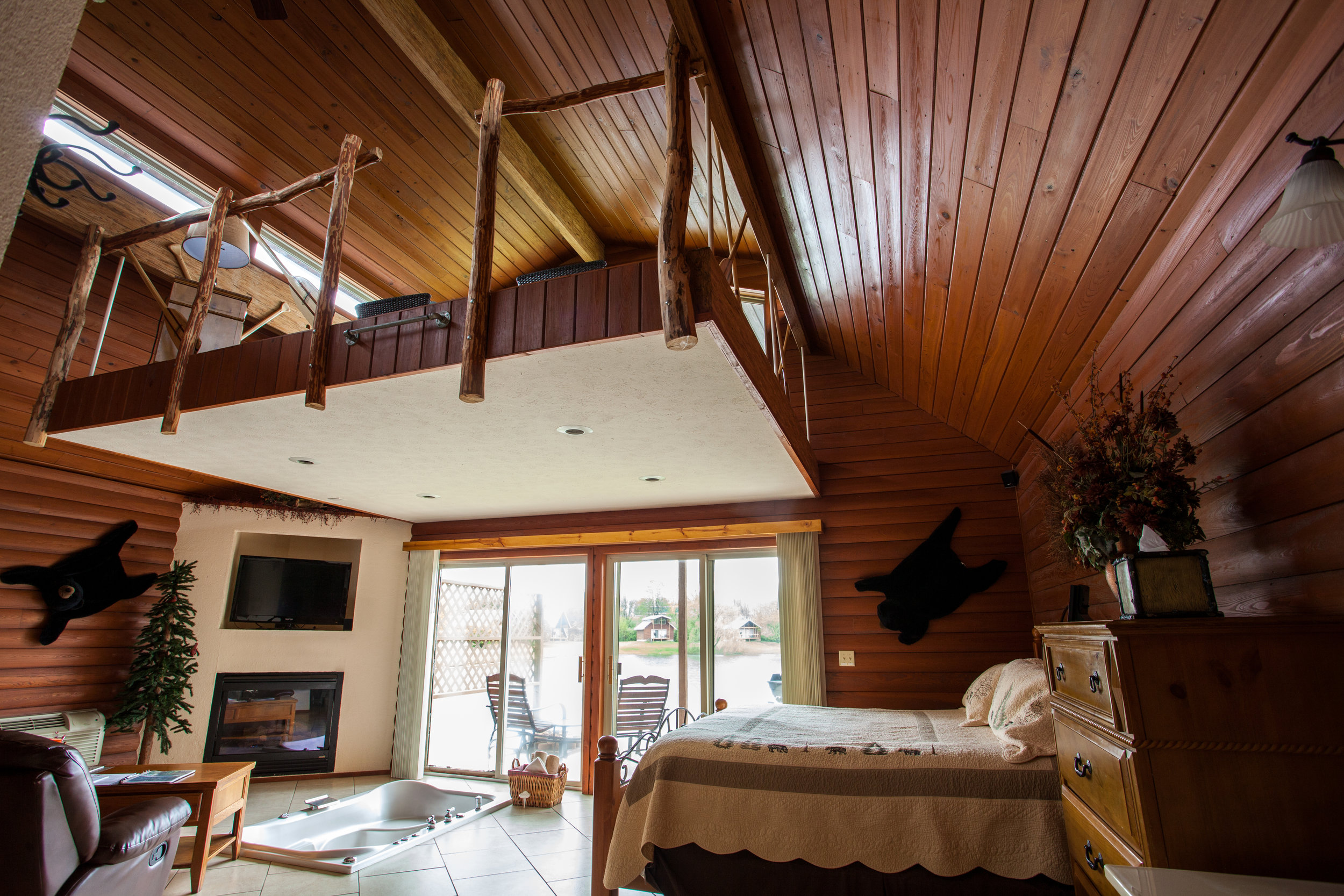 Interior picture of cabin with loft space.