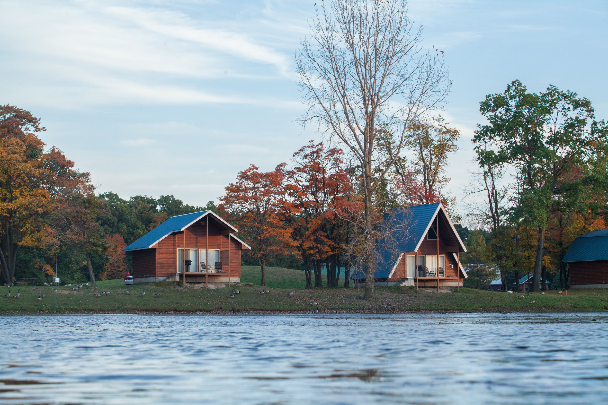 Two cabins on the lake at Serenity Springs.