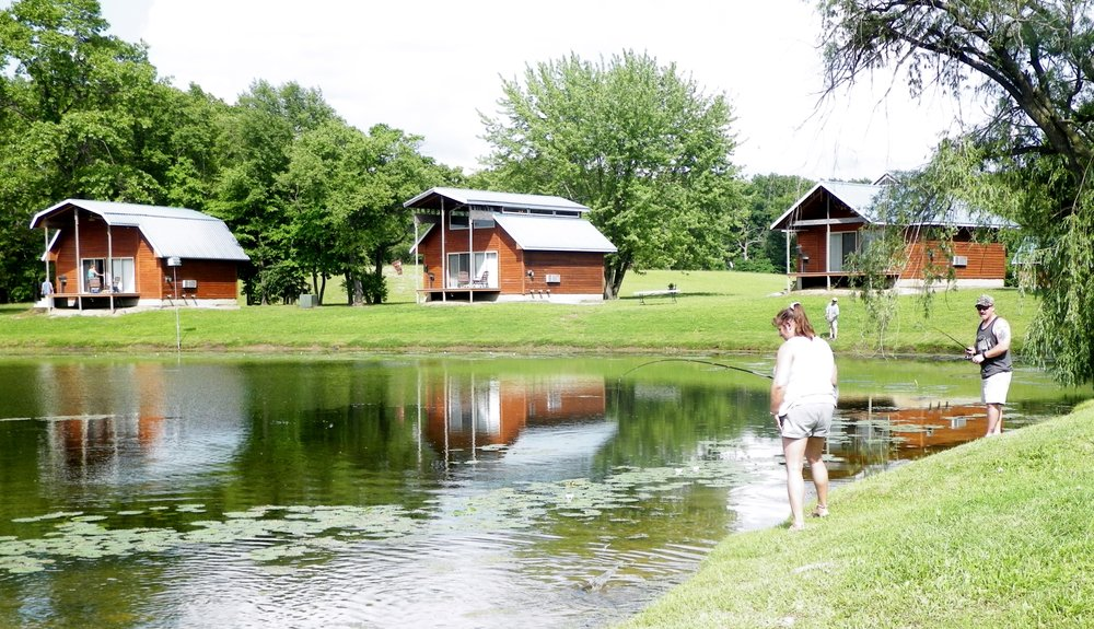 Cabins for two along the pond at Serenity Springs.