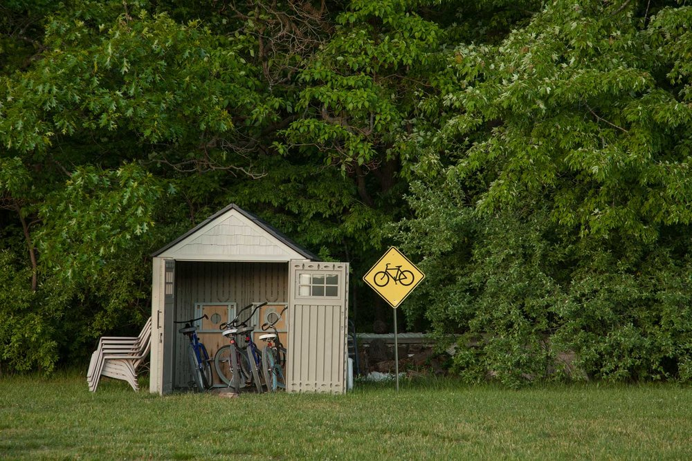 The bike shed at Serenity Springs for guests to enjoy.