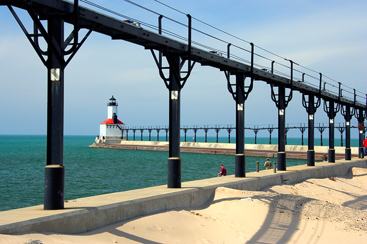 The lighthouse in Michigan City, Indiana.