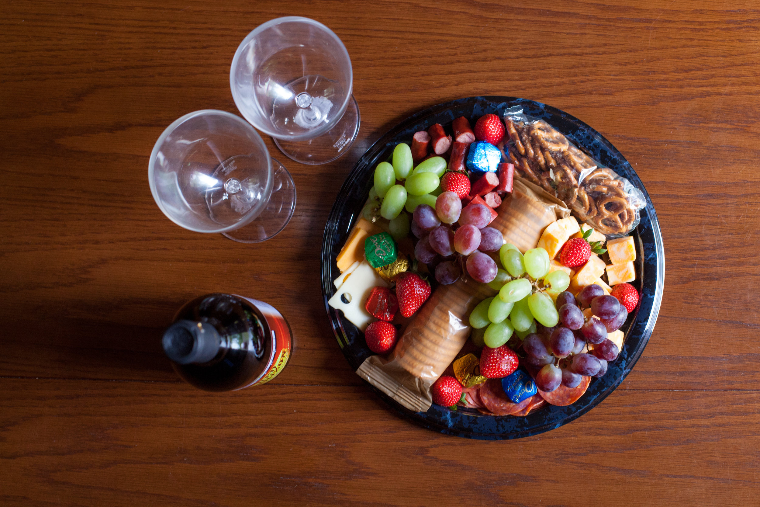 A wine and cheese platter add-on package.