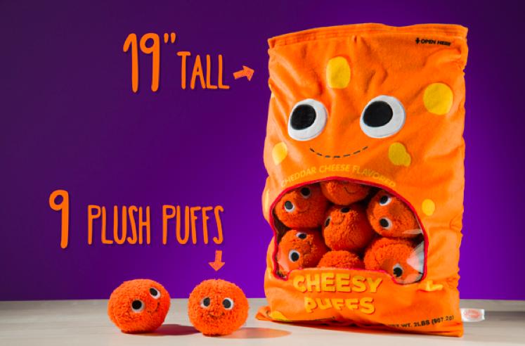 Giant Stuffed Bag of Cute Plush Cheese Snacks