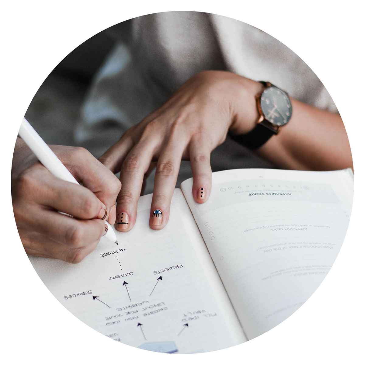image of a person writing