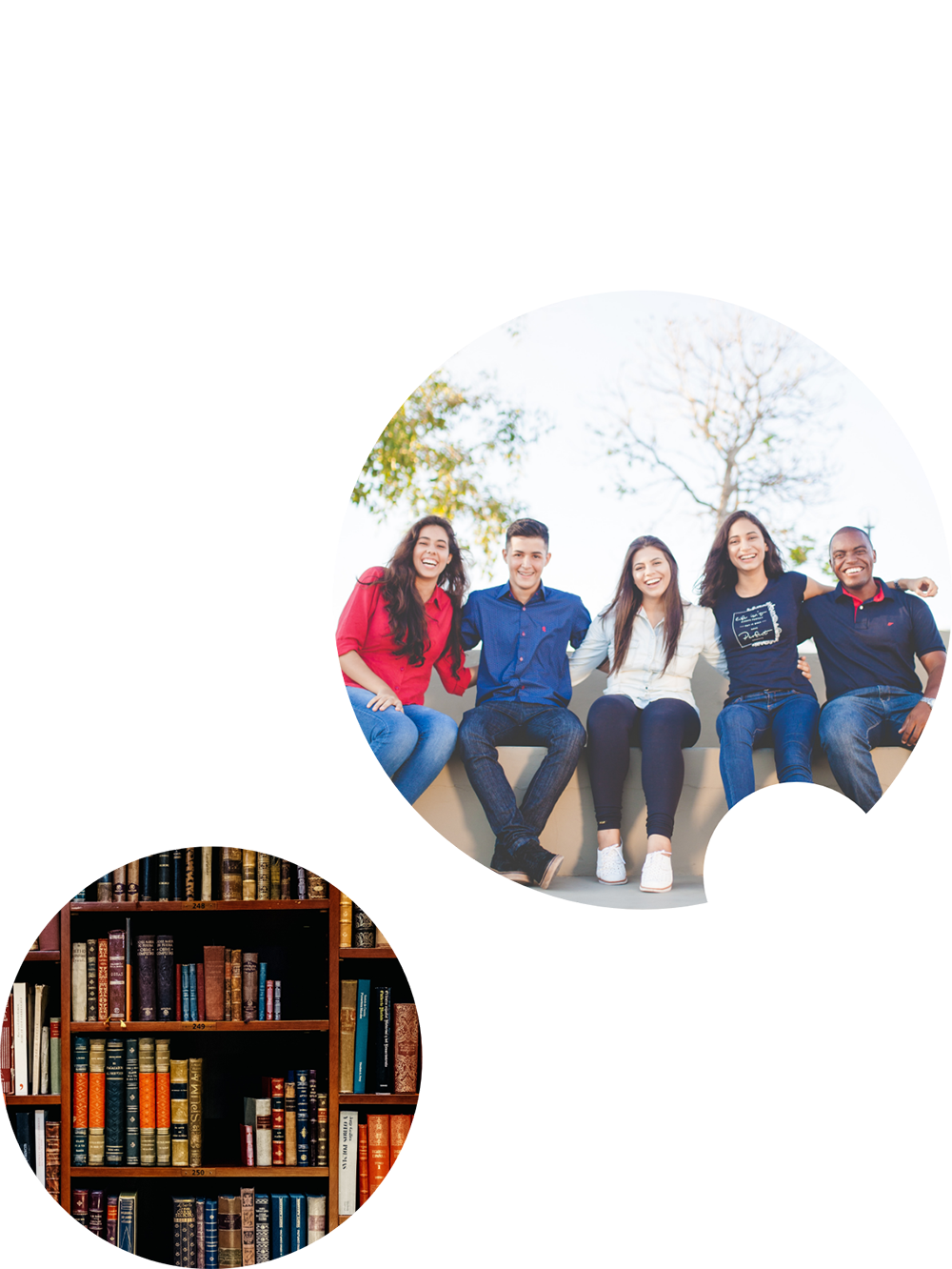 image of a group of students and a library 2