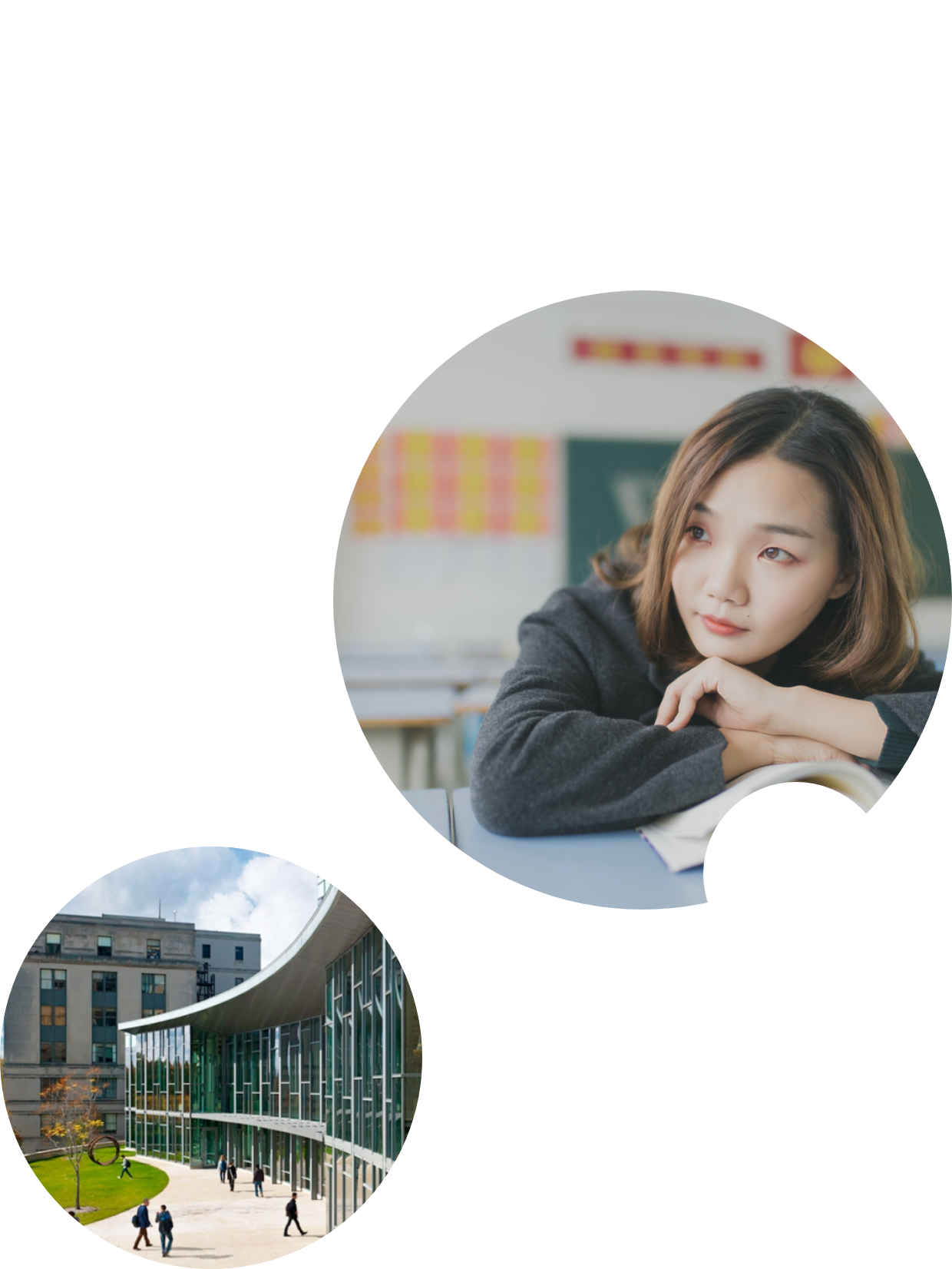image of a woman contemplating and university front 2