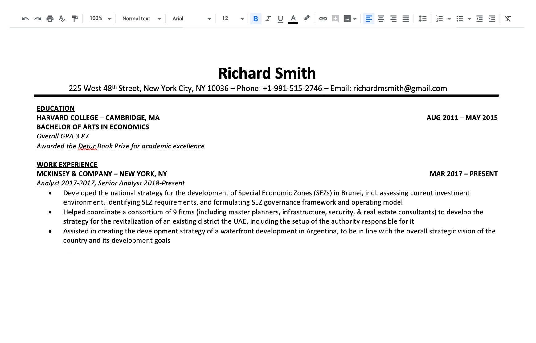 image of before the editing of the curriculum vitae
