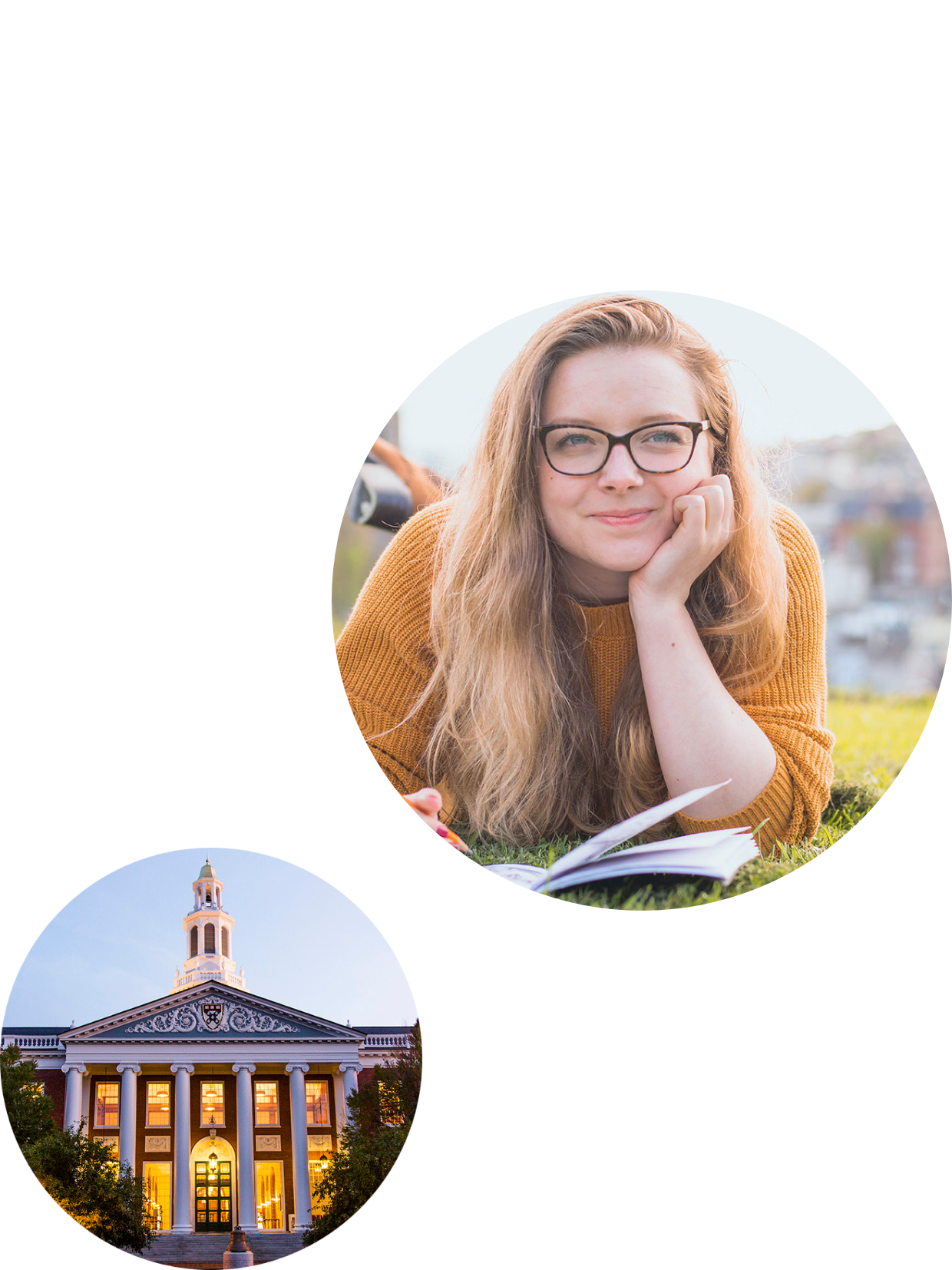 image of a student in glasses and university front hall version 2