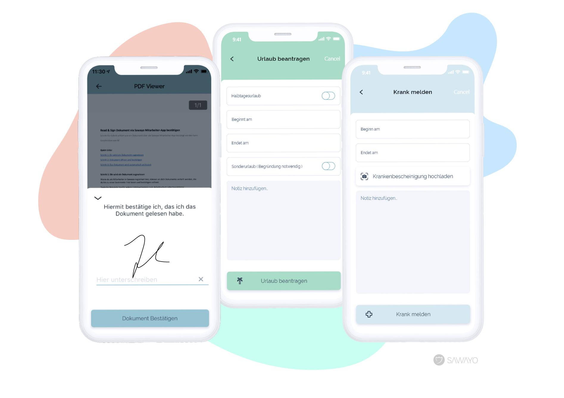 Beispielausschnitte aus der Sawayo Mitarbeiter-App