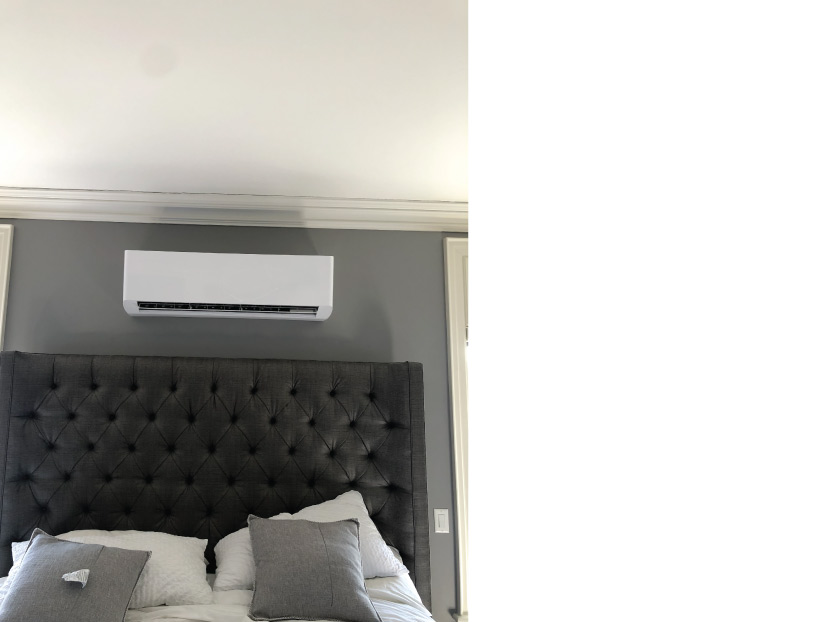 Green Heatint and Air Ductless Air Conditioning Installation in Bedroom