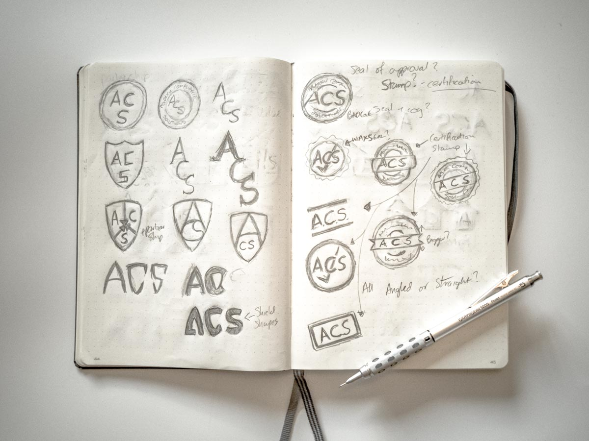 Agency Compliance Solutions Logo Sketches image 2