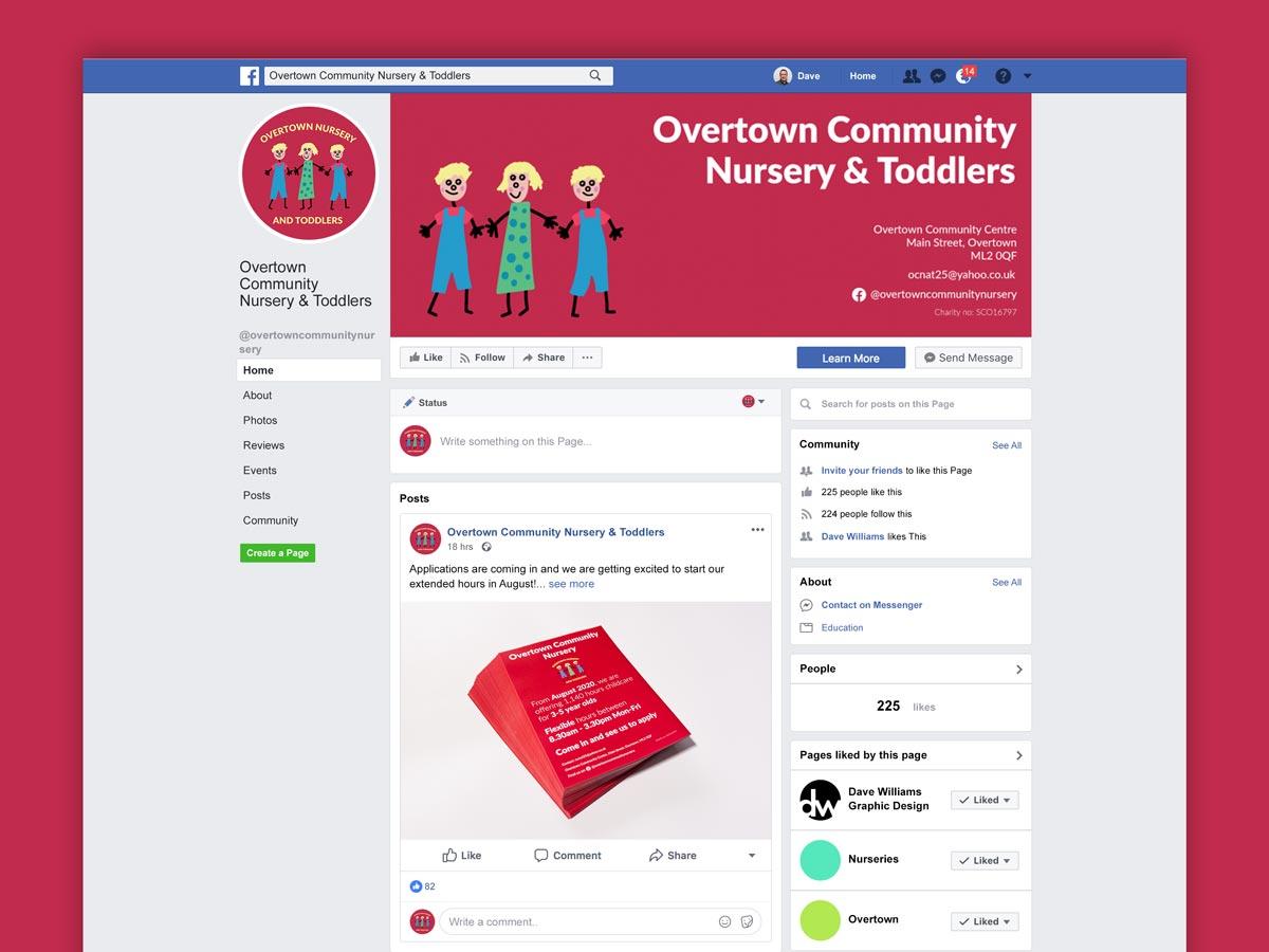 Overtown Nursery Facebook page mockup