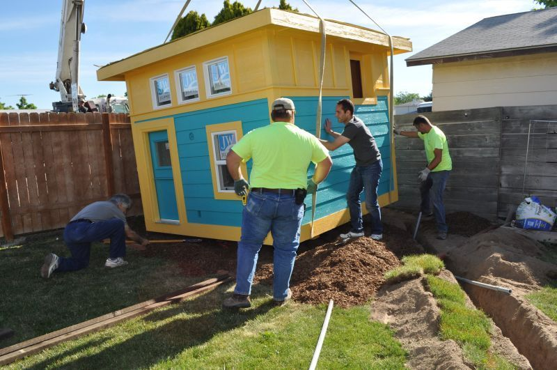 Make a wish image of tiny home being built.