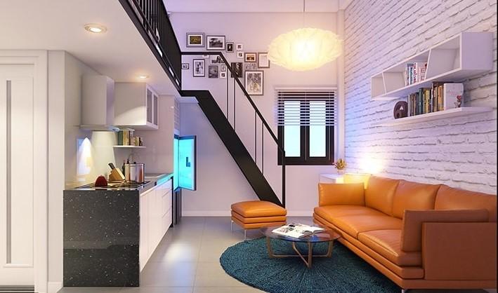 Trang trí phòng trọ theo phong cách hiện đại dành cho phòng có gác lửng muốn tăng thêm không gian