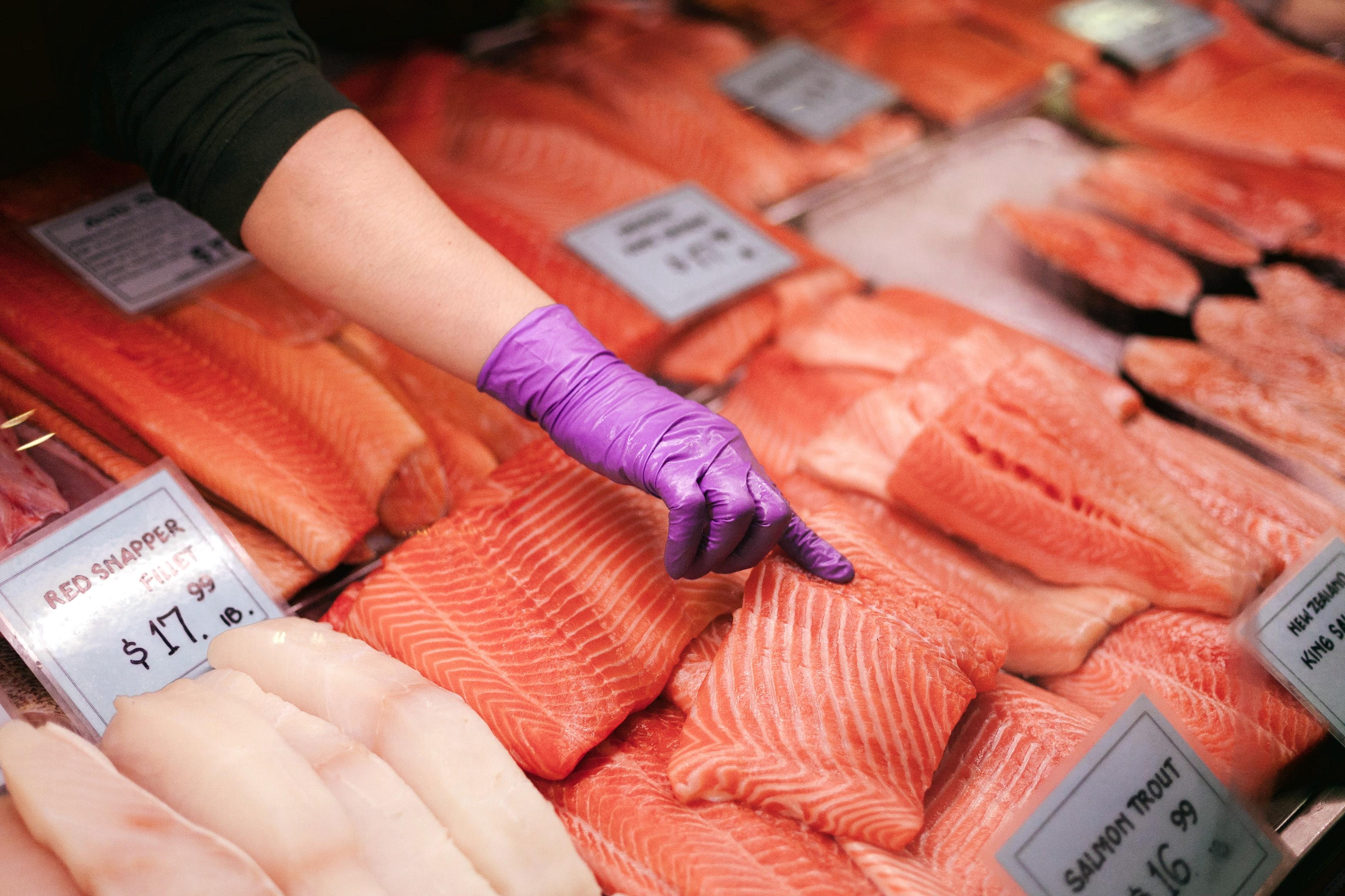 Fresh salmon at market